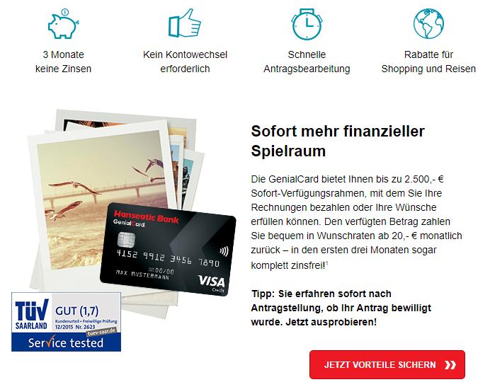Hanseatic Bank GenialCard kreditlimit